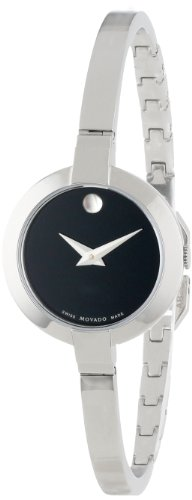 Movado Women's 0606595 Bela Stainless Steel Case and Bangle Bracelet Black Dial Watch