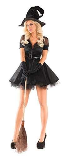 Party King Women's Bewitching Pin-Up Witch Sexy 3 Piece Costume Set, Black, Small