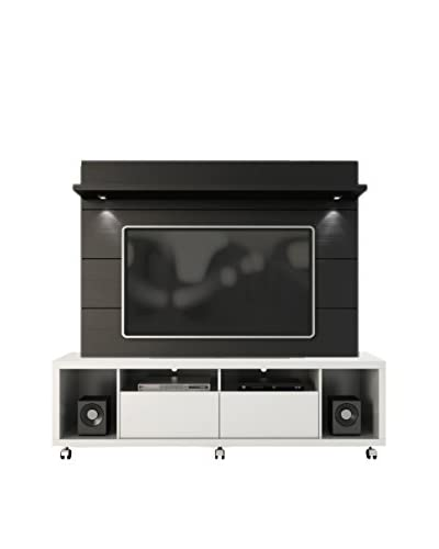Manhattan Comfort Cabrini TV Stand & Panel 1.8, White/Black