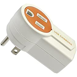Syba CL-ADA60008 Orange/White Rotatable USB Charger with Extra USB Charging Port