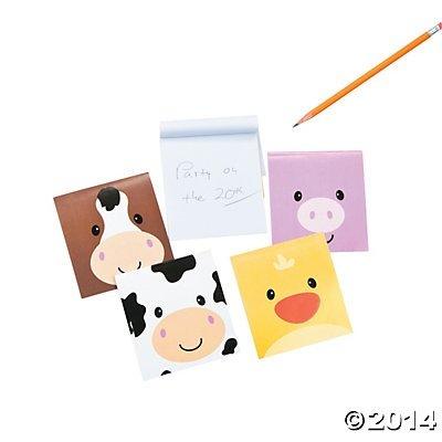 Farm Barnyard Animal Face Mini Notepads - 24 pcs - 1