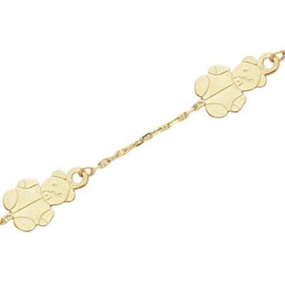 18K Yellow Gold Child Teddy Bear Chain Bracelet - Length 14 cm