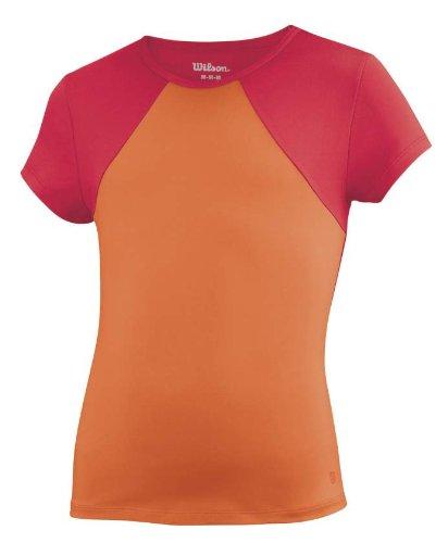 Wilson Solana - Maglietta sportiva da donna a maniche corte, Multicolore (Corallo/ciliegio), S