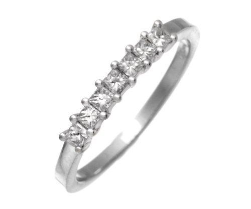 18ct White Gold 1/3 Carat Certified J/SI Princess Cut Diamond Eternity Ring - Size J