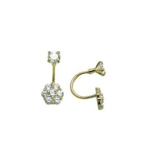 FreshTrends Open Hoop Cubic Zirconia Flower 14KT White Gold Earrings