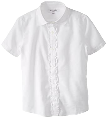Brooks Brothers Big Girls' Short Sleeve Oxford Blouse, White, 12