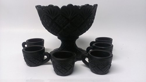 Solid Black Milk Glass Fan & Feather Miniature Punch Bowl & Cups Set (Miniature Punch Bowl compare prices)