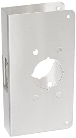 """Don-Jo 4500-CW 22 Gauge Stainless Steel Mortise Lock Wrap-Around Plate, Satin Stainless Steel Finish, 4-3/4"""" Width x 9"""" Height, 2-3/4"""" Backset, 1-3/4"""" Door Size, For Mounting Don-Jo Hospital Push and Pull Latches"""