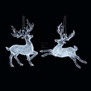 "5 5"" CLEAR ACRYLIC REINDEER ORNAMENT, SET OF 2 ASSORTED - Christmas Ornament"