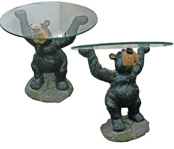 Gentil Willie Black Bear Holding Glass Coffee End Table, 22 Inch (Black Bear  Animal Theme)