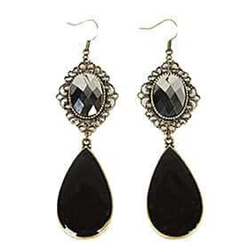 black gem drop earrings