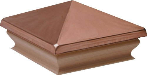 Woodway Products 870.1898 6-by-6-Inch Redwood Large Pyramid Post Cap, 8-Pack, Copper