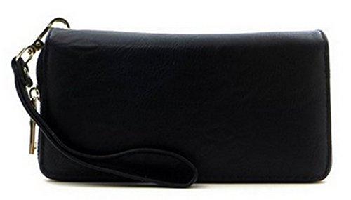 1st Class Designer Inspired Plain Double Zip-around Wristlet Wallet