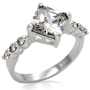 Princess Cut Clear Cubic Zirconia Engagement Ring in Silver Tone