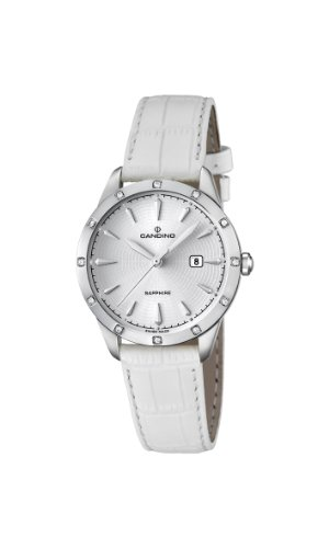 Candino Women's Quartz Watch with White Dial Analogue Display and White Leather Strap C4527/1