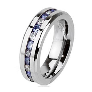 6mm Wide Stainless Steel Eternity Ring with Half Tanzanite and Half Clear & Tanzanite CZ Combination Gemstones - Size: Large