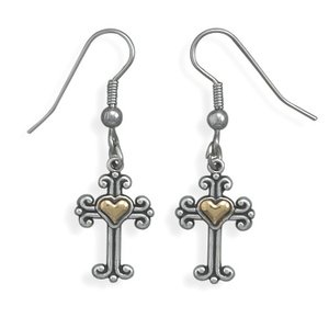 Heart of Gold (c) Cross Earrings Sterling Silver with 14k Gold Inlay Hearts, Made in the USA
