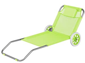 strandliege mit rollen klappbar strandrolli schwimmbadliege rollliege lime hellgr n. Black Bedroom Furniture Sets. Home Design Ideas