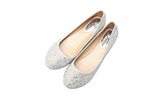 JJF Shoes Larisa Silver Bling Sparkling Rhinestone Glitter Slip Loafer Ballet Flat Shoes-6.5