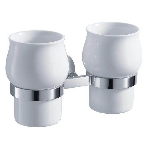 Kraus KEA-11116CH Amnis Bathroom Wall-mounted Double Ceramic Tumbler Holder