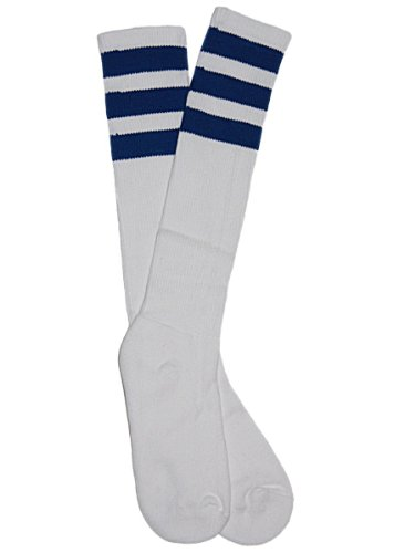YogaColors Unisex Stripe Knee-High Sock RSASKL, 9-11, White/Royal Blue ...