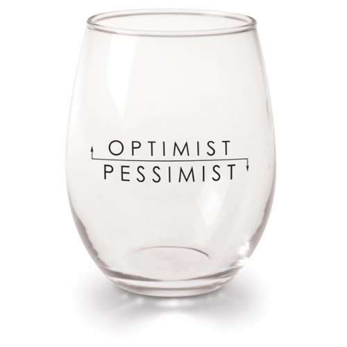 Optimist Pessimist Wine Glasses