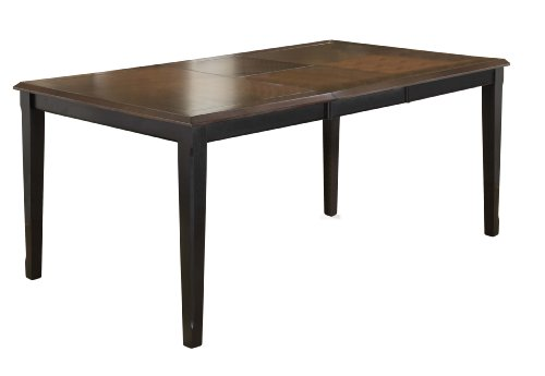 Hillsdale Englewood Rectangle Leg Extension Table with 18-Inch Butterfly Leaf, Rubbed Black with Brown Cherry Finish