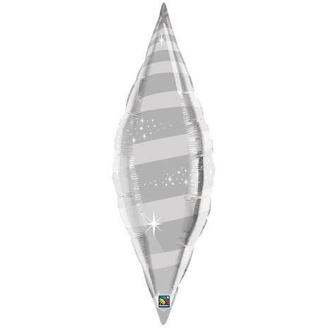 """36"""" Taper Swirl Silver Helium Shape"""
