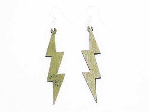 [Lightning Thunder Bolts Wooden Earrings Jewelry Customize] (Thunder Lightning Costume)