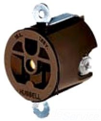 Hubbell HBL5258 Single Receptacle, 3-wire Grounding, 15A, 125V, Panel Mount, Brown,