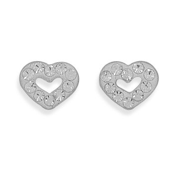Heart Stud Earrings with 10 Clear Crystals