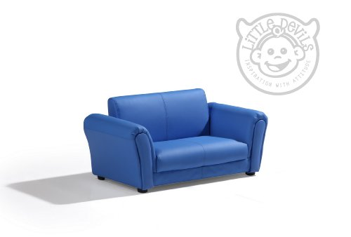 Blue Leather Lazybones Kids Twin Sofa Chair Seat Armchair