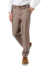 Straight Leg Flat Front Suit Trousers