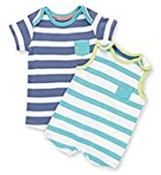 2 Pack Pure Cotton Striped All-in-Ones