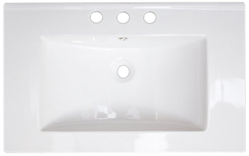 American Imaginations 385 24-Inch by 18-Inch White Ceramic Top with 8-Inch Centers