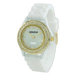 White Silicone Ceramic Style Wrist Watch Small Face Surrounded