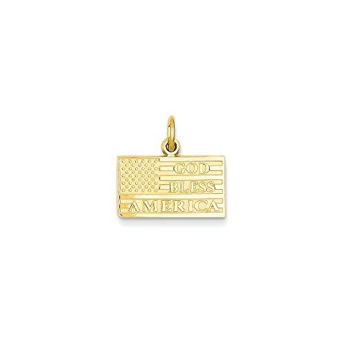 14k Yellow Gold God Bless America Flag Charm (16x17 mm)