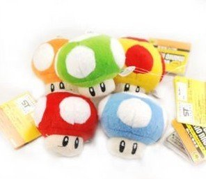 "SUPER MARIO Bros Mushroom 2.5"" Plush Doll Figure -5PC"