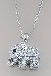 Adorable Little Crystal Elephant Charm Silver Necklace for Girls, Tweens, Teens
