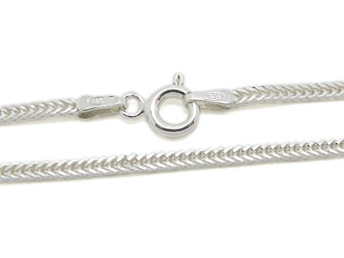 [925 Sterling Silver 1.4 mm Fox Tail Chain Size: 16 18 20 22 24 inch (20