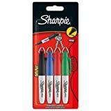 Sharpie Mini Permanent Marker Portable Fine Assorted Black Blue Red Green Ref S0811250 [wallet 4] (s0811250)