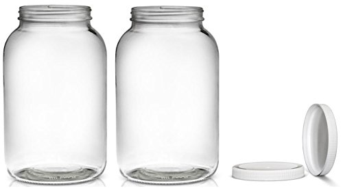 2 Pack ~ Wide Mouth 1 Gallon Clear Glass Jar - White Lid with Liner Seal for Fermenting Kombucha / Kefir, Storing and Canning / USDA Approved, Dishwasher Safe (32 Ounce Glass Pitcher With Lid compare prices)