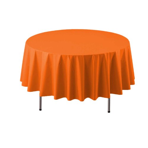 "Party Essentials ValuMost Round Plastic Table Cover, 84"", Tangerine"