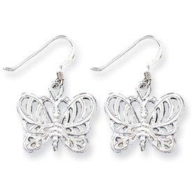 Sterling Silver Butterfly Caste Dangle Earrings