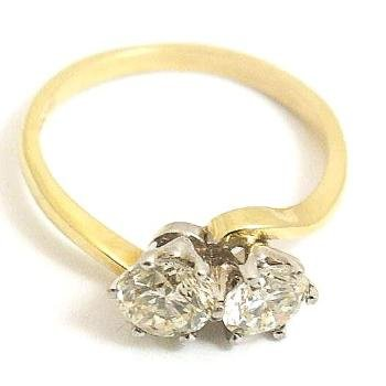 18ct Gold 2 Stone Diamond Engagement Ring 1.21ct L-SI3