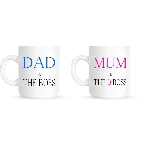 Dad Is The Boss Mum Is The Real Boss Christmas Anniversary Gift Mug Set