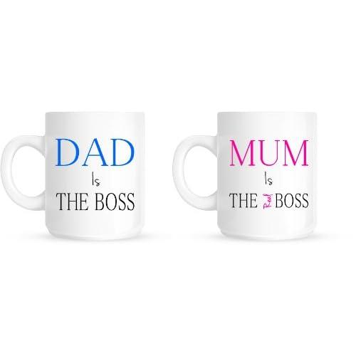 Dad Is The Boss Mum Is The Real Boss Christmas Anniversary Gift Mug Set
