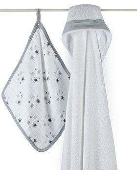 Aden and Anais Hooded Towel Washcloth Set-Twinkle - 1