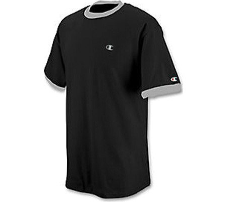 Champion Cotton Jersey Men's Ringer T Shirt (XL, Black/Oxford Gray)