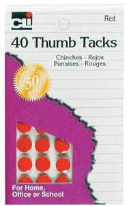 Charles Leonard Thumb Tacks - Red On Safety Cards - 40/Card, 83530